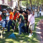 Volunteers cleaning up Wingate Park