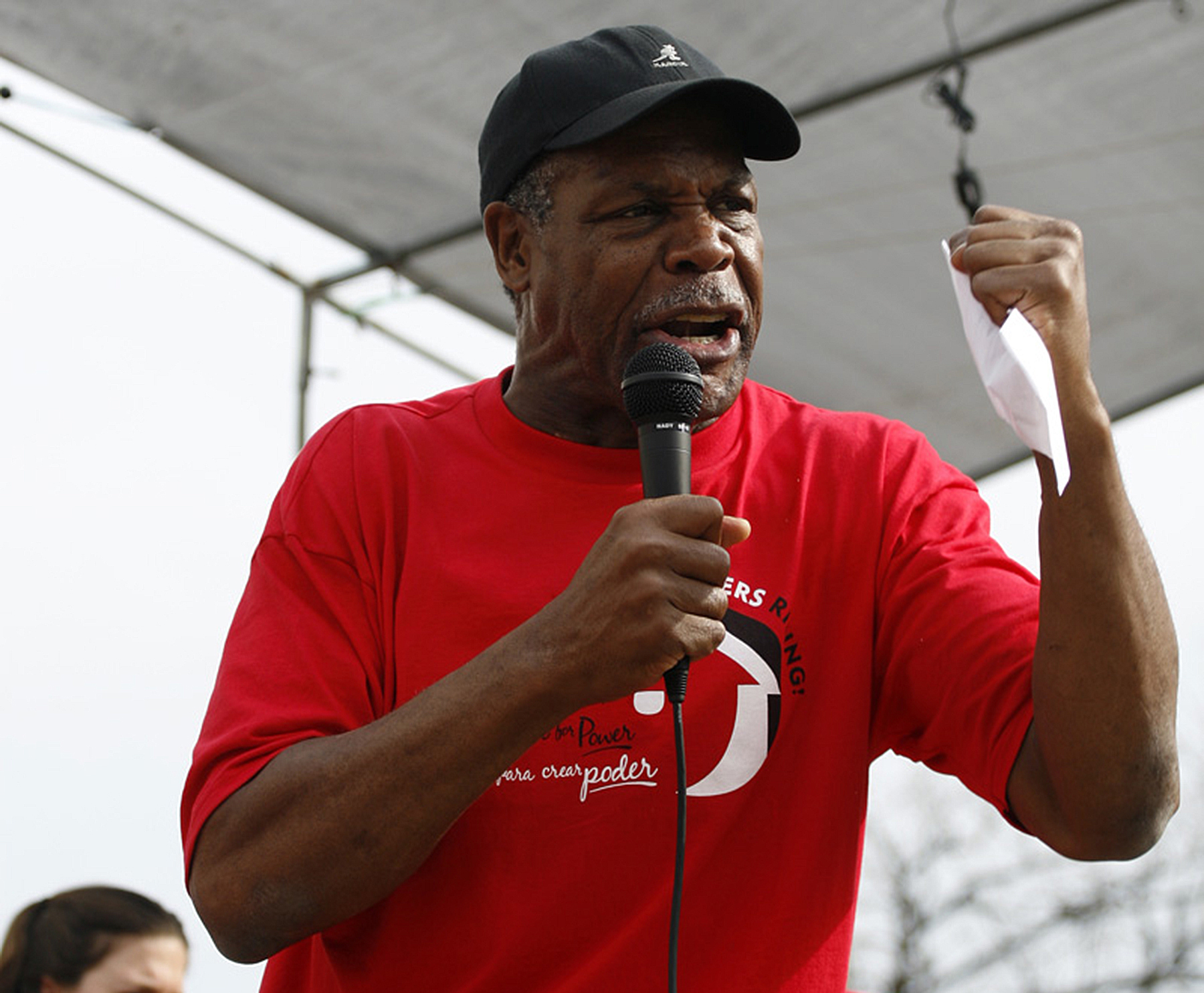 Danny Glover speaks at a March for Immigrants Rights in Madison, Wisconsin, USA.