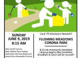 Flushing Meadows Corona Park Cleanup – Sunday, June 9, 2019 @ 8:15 am