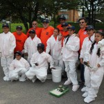 Local 79 volunteers get ready to paint at Flushing Meadows Corona Park