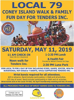 Coney Island Walk & Family Fun Day For Tenders Inc. – Saturday, May 11, 2019 at 11:00 am
