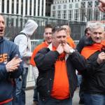 Onlookers cheering at May Day 2015