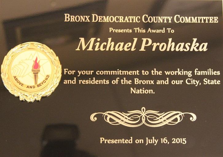 Plaque honoring Mike Prohaska