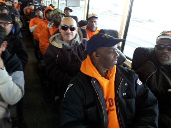 Local 79 members on bus to Albany